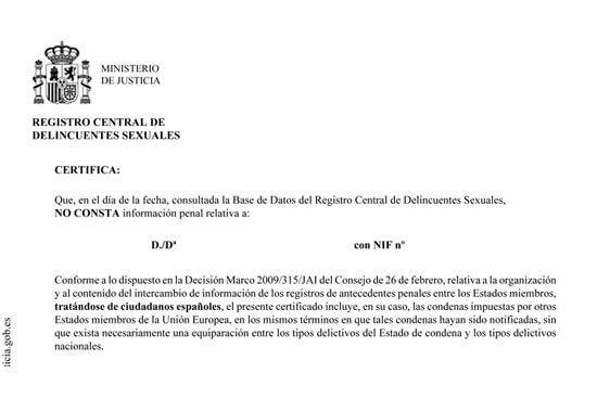 Certificado de delitos sexuales en Huelva